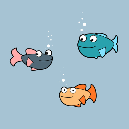 Cartoon fishes. Funny set of 3. Stock fotó