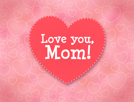 Love you, Mom. Mothers day greeting card with hearts. Stock fotó