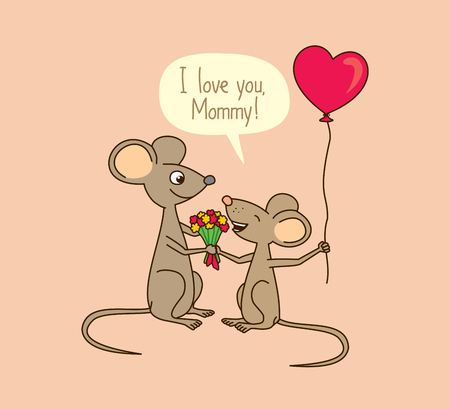 I love you, Mommy. Mothers day greeting card with cute cartoon mice.