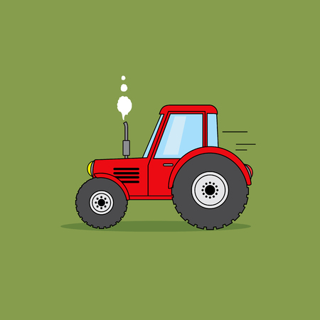 Red tractor cartoon illustration.