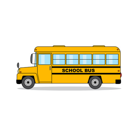 School bus isolated on white background. Cartoon illustration.