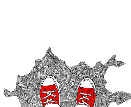 Red sneakers doodle. View from above.