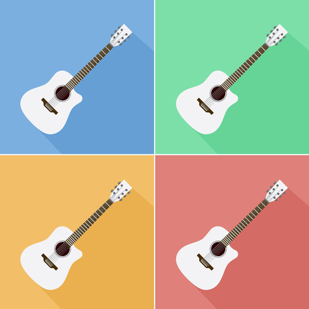 White flat acoustic guitar icons. Set of four.