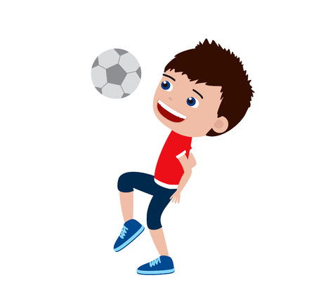 Football boy. Cartoon illustration of a boy playing with a ball. Stock fotó