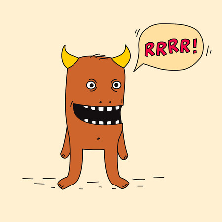 Funny cartoon monster with speech bubble