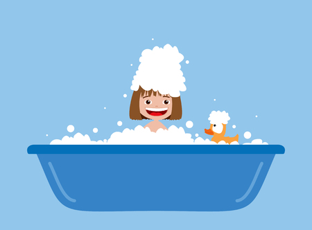 Little girl taking a bath. Cartoon illustration Stock fotó