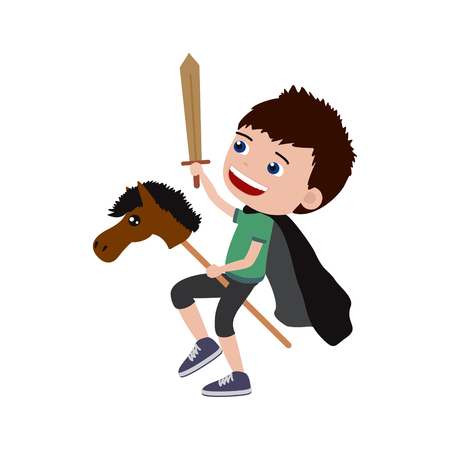 Little boy playing knight with hobby horse and a sword.