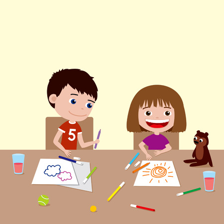 spending: Children drawing with markers. Cartoon illustration of happy brother and sister spending time together.