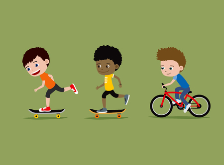 Children riding skateboards and bike. Three little boys.