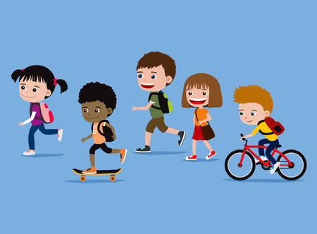 schoolmate: Children going to school. Cartoon illustration of cute five kids on their way to school. Stock Photo