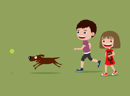 Children walking and playing with a dog. Cute cartoon illustration. Stock fotó