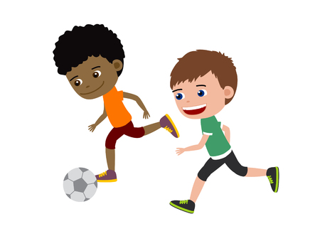 Football boys. Cartoon illustration of boys playing football.