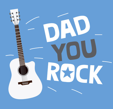 Fathers day greeting card design with custom typography and guitar. Dad you rock.