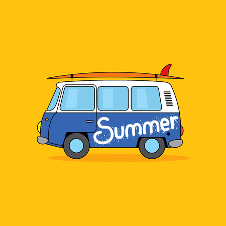 Summer hippie van with surfing board. Cartoon illustration