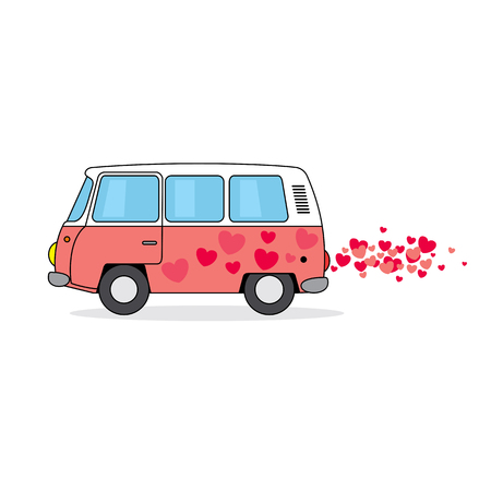 Pink hippie van cartoon illustration with hearts isolated on white.