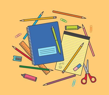 highlighter pen: School supplies on orange background: notebook, pencils, pen, ruler, scissors, eraser, pencil sharpener, highlighter pen etc.