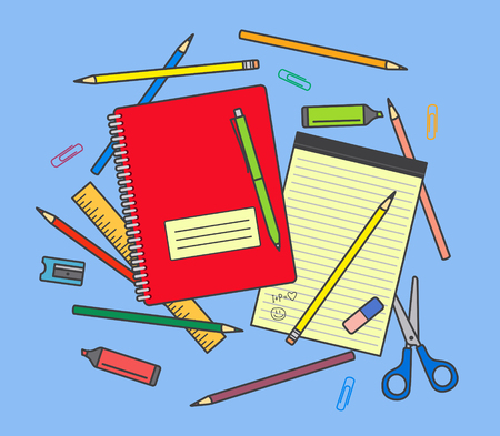 School supplies on blue background: notebook, pencils, pen, ruler, scissors, eraser, pencil sharpener, highlighter pen etc.