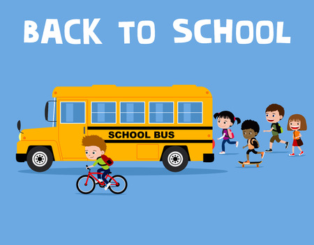 Back to school illustration: happy cartoon kids running to the yellow bus