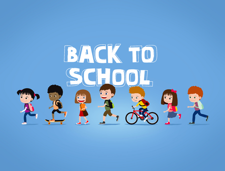 Back to school illustration: group of happy cartoon children walking with backpacks, on blue background