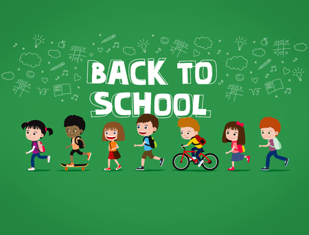 Back to school illustration: group of happy cartoon children walking with backpacks, on green background with doodles