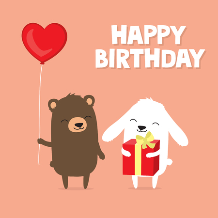 Birthday greeting card with cute cartoon bear and bunny rabbit holding balloon and gift Stock fotó