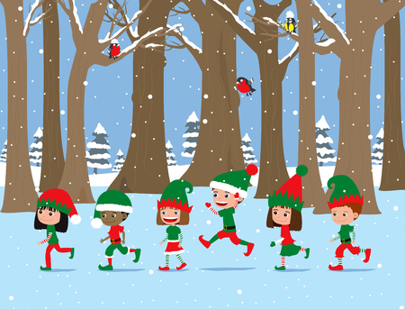 Christmas children. Cute cartoon kids wearing elf costumes walking through winter forest.