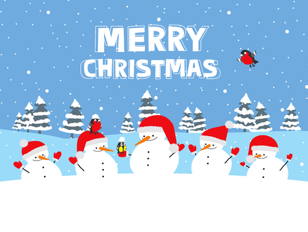 Merry Christmas. Greeting card with cartoon snowmen and winter birds Stock fotó