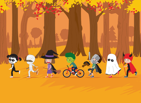 Halloween children. Cute cartoon kids in costumes: skeleton, mummy, witch or wizard, zombie, knight, ghost and devil