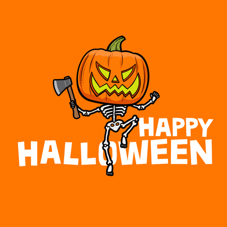 Happy Halloween card: angry Jack-o-lantern with skeleton body and axe, running towards viewer Stock fotó