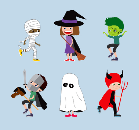 Halloween kids. Set of cartoon children in costumes: mummy, witch or wizard, zombie, knight, ghost and devil