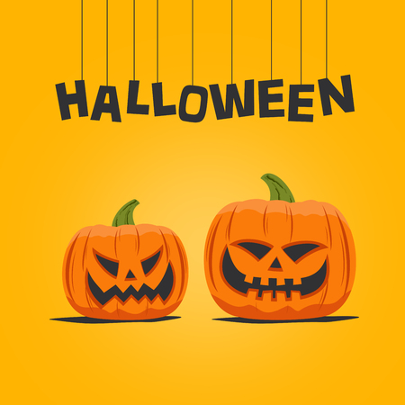 Halloween greeting card with carved pumpkins Stock fotó