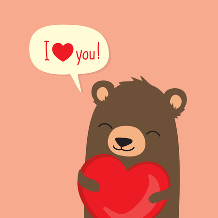 Valentines Day card with cute cartoon bear holding heart and saying I love you in speech bubble Stock fotó