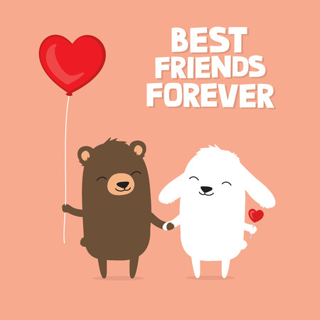 Valentines Day card with cute cartoon bear and bunny rabbit holding hands