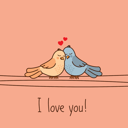 Valentines Day greeting card with two cute cartoon love birds Stock fotó