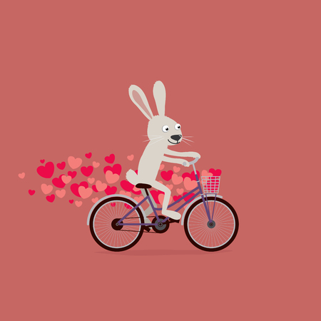 Cute Valentines Day card: cartoon bunny rabbit riding bike with hearts around