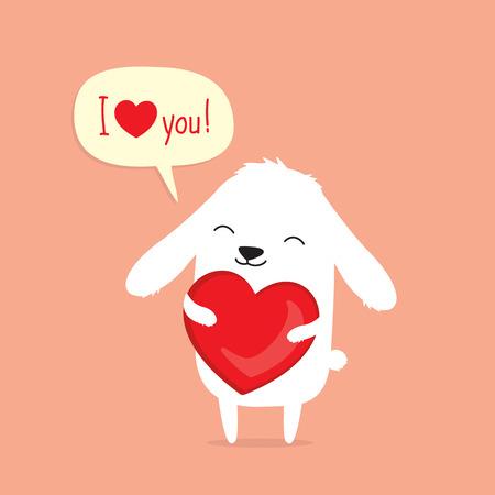 Tarjeta de San Valentín con conejo de conejito de dibujos animados lindo con corazón y diciendo te amo en bocadillo Foto de archivo - 78305323
