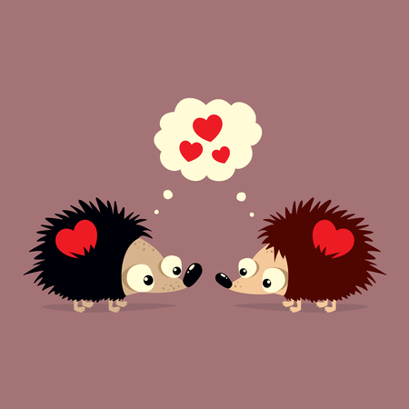 Cute Valentines Day card with two cartoon hedgehogs falling in love with each other