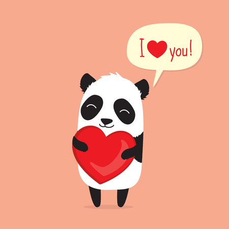 Cute cartoon panda holding heart and saying I love you in speech bubble. Greeting card for Valentines Day Stock fotó