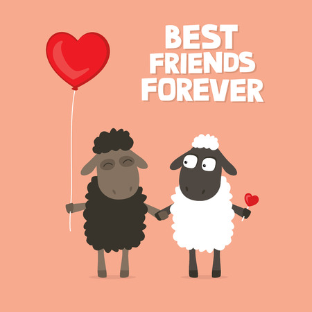 Valentines Day card with cute cartoon sheep holding hands with text saying best friends forever