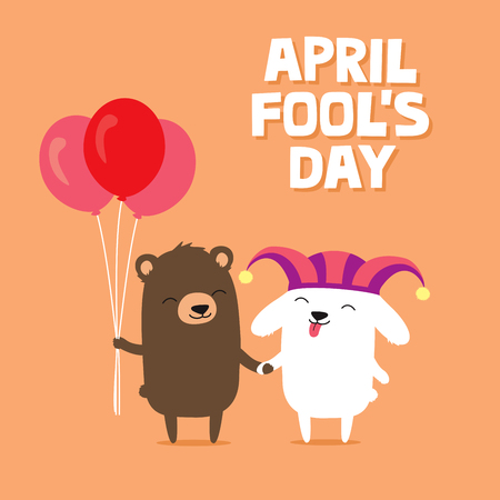 April Fools Day greeting card with cute bunny rabbit wearing joker hat and bear holding balloons