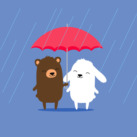 Cute cartoon bear and bunny rabbit sharing umbrella in the rain.