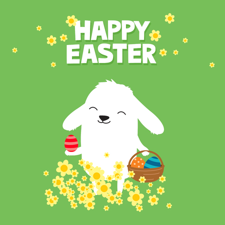 Easter bunny with basket of eggs and flowers on a green background. Cute cartoon greeting card.