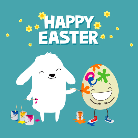 Bunny rabbit decorating Easter egg with paintbrush. Cute cartoon greeting card