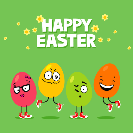 Easter eggs with funny face expressions jumping. Cartoon Easter greeting card Stock fotó