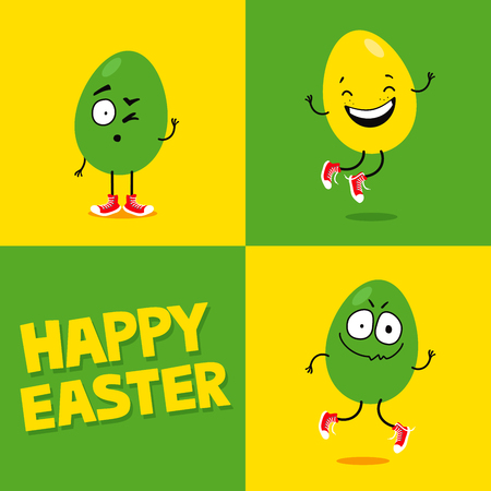 Easter greeting card with three funny eggs making silly face expressions