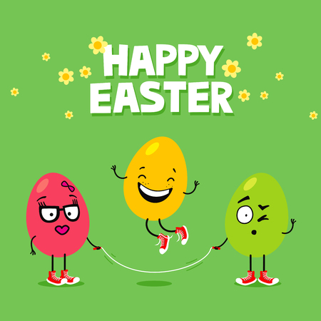 Easter eggs with funny face expressions rope jumping. Cartoon Easter greeting card Stock fotó