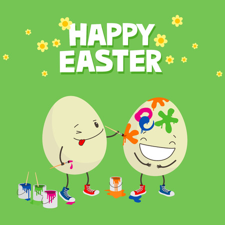 One Easter egg decorating another with paintbrush. Cute cartoon greeting card Stock fotó