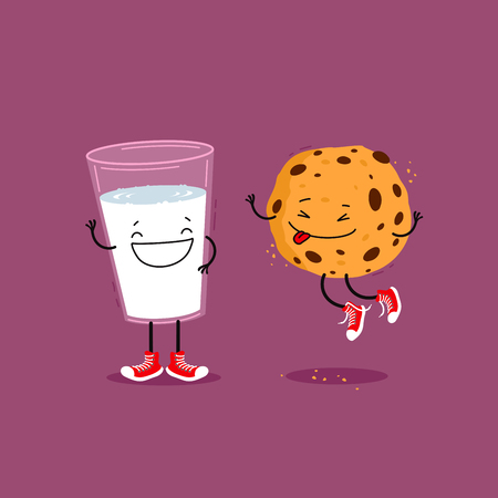 Milk and cookie. Funny cartoon illustration Reklamní fotografie