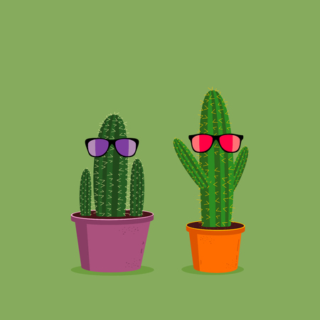 Two funny cartoon cacti wearing sunglasses on green background. Cute character illustration Stock fotó