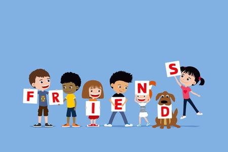 Groep kinderen en een brieven die van de hondholding vrienden zeggen. Leuke diverse cartoon illustratie van kleine meisjes en jongens.